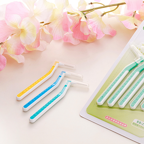 Two Colors L Shape Soft Flexible Interdental Brushes